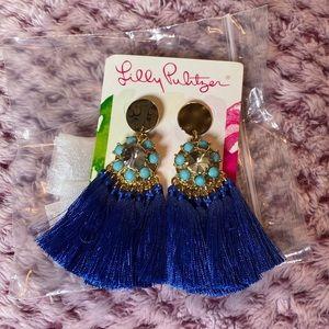 Lily Pulitzer blue tassel earrings